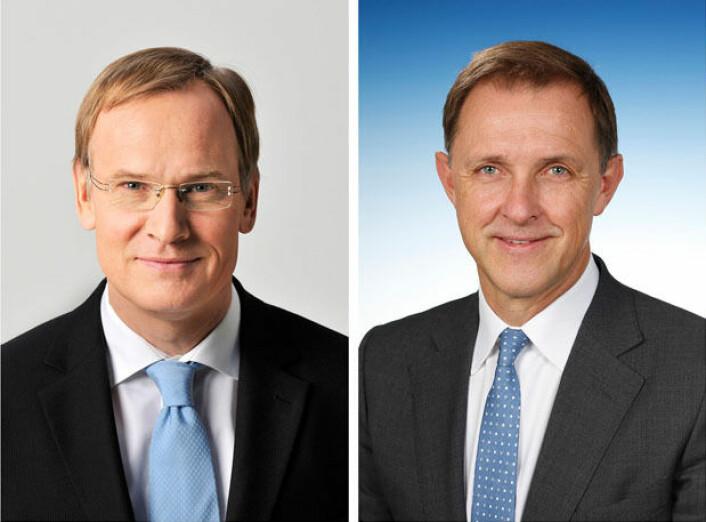 <br>Eckhard Scholz (t.v.) overlater styringen av Volkswagen Nutzfahrzeuge til Thomas Sedran.<br>