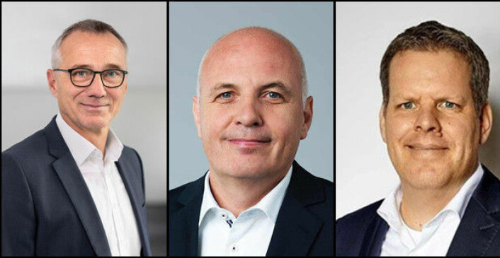NYE NAVN: Andreas Tostmann (t.v.) er ny toppsjef for MAN Truck & Bus, Matthias Gründler (midten) er ny toppsjef i Traton SE (eier Scania og MAN) og Carsten Intra (t.h.) er ny sjef for Volkswagen Nutzfahrzeuge.