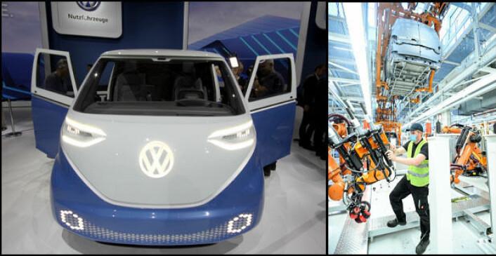 RYKKER NÆRMERE: Vi har ventet lenge på ID. Buzz. Nå er fabrikken snart klar for å bygge elbilen, blant annet i varebilversjonen ID. Buzz Cargo. Foto: Brede Høgseth Wardrum / Volkswagen Nutzfahrzeuge