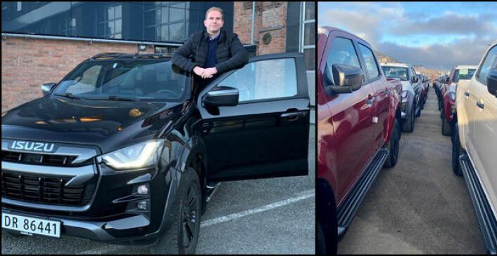 Steinar Dokken, salgssjef for Isuzu, er klar for å pøse ut nye D-Max. Her med en av de første bilene i landet, og til høyre den første båtlasten som ankom Drammen nylig.