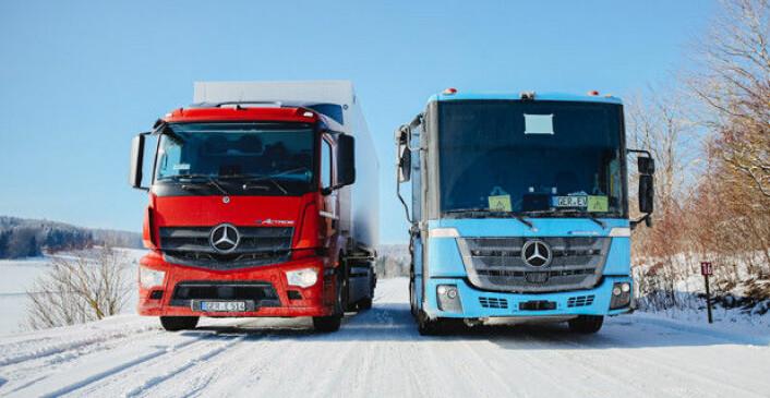 Vinteren i Schwäbische Alb, som er en fortsettelse av Jurafjellene, er kanskje ikke helt ulik den el-lastebilene kan møte på i Norge etter hvert. Foto: Daimler