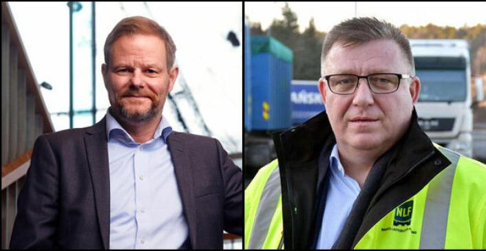 POSITIVE: Are Kjensli (t.v.), administrerende direktør i NHO Logistikk og Transport, og Geir A. Mo, administrerende direktør i NLF.