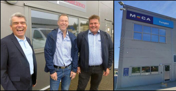Fra venstre: John-Axel Granberg, Michael Borg og Petter Myhre er alle fornøyde med at Akershus Tungbilservice i Enebakk nå er på plass i den nye Meca Tungbil-kjeden.