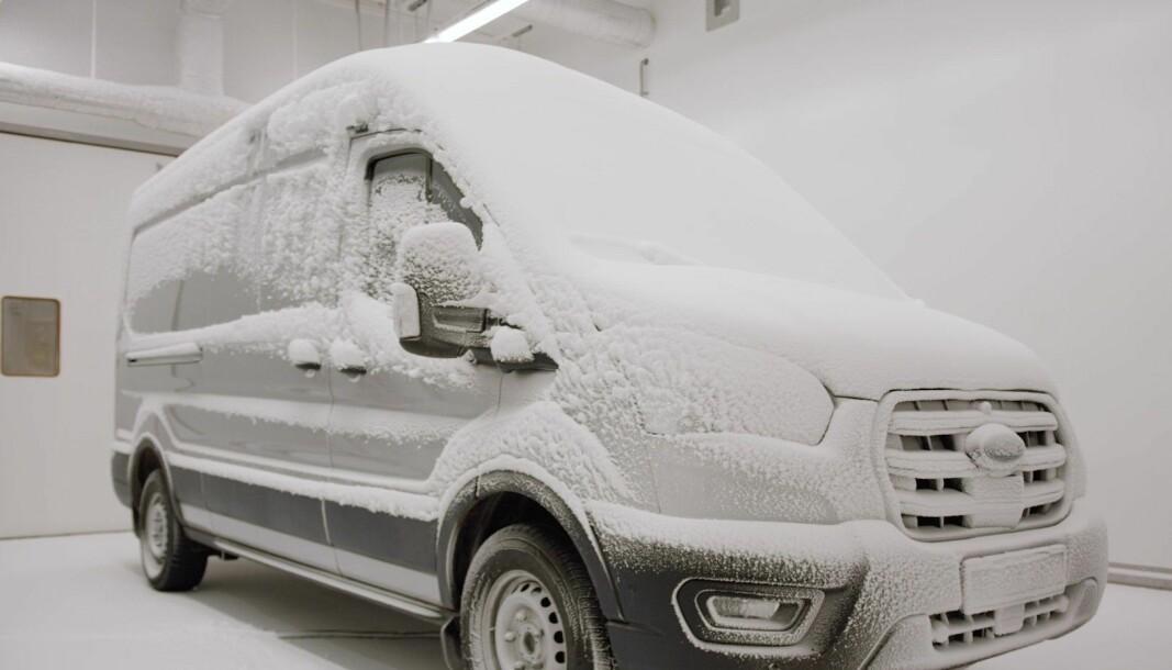 Her på berget skal Ford E-Transit få smake på ekte nordisk vinter, ikke bare kunstig kulde og snø i et testlaboratorium.