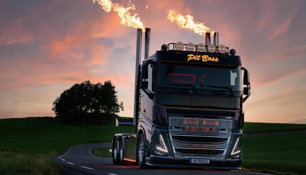 Den spesialbygde grill-lastebilen PitBoss blir et av høydepunktene på Volvo-standen.