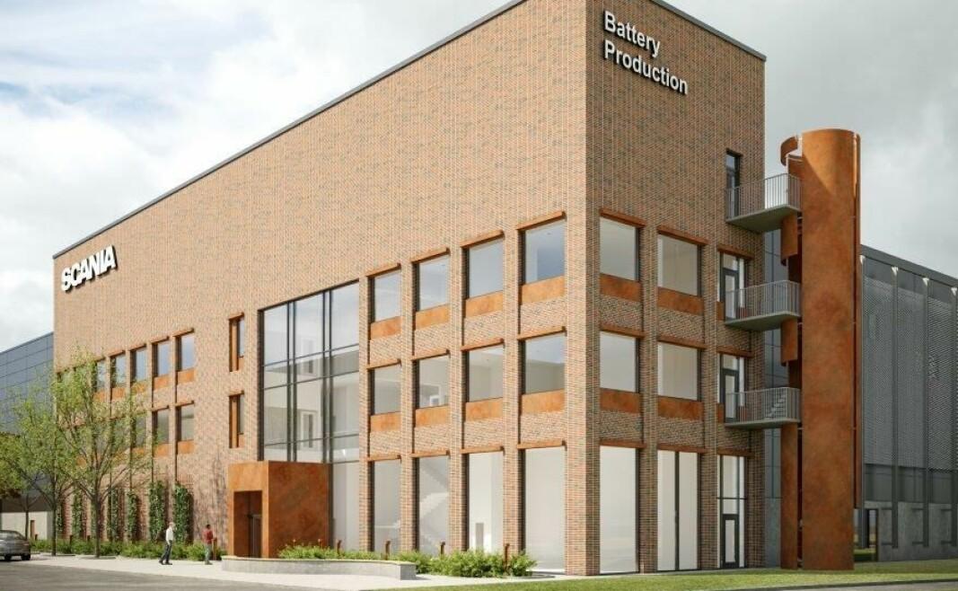 Slik skal den nye batterifabrikken til Scania i Södertälje se ut, når norske Hallgruppen er ferdig med byggearbeidene.