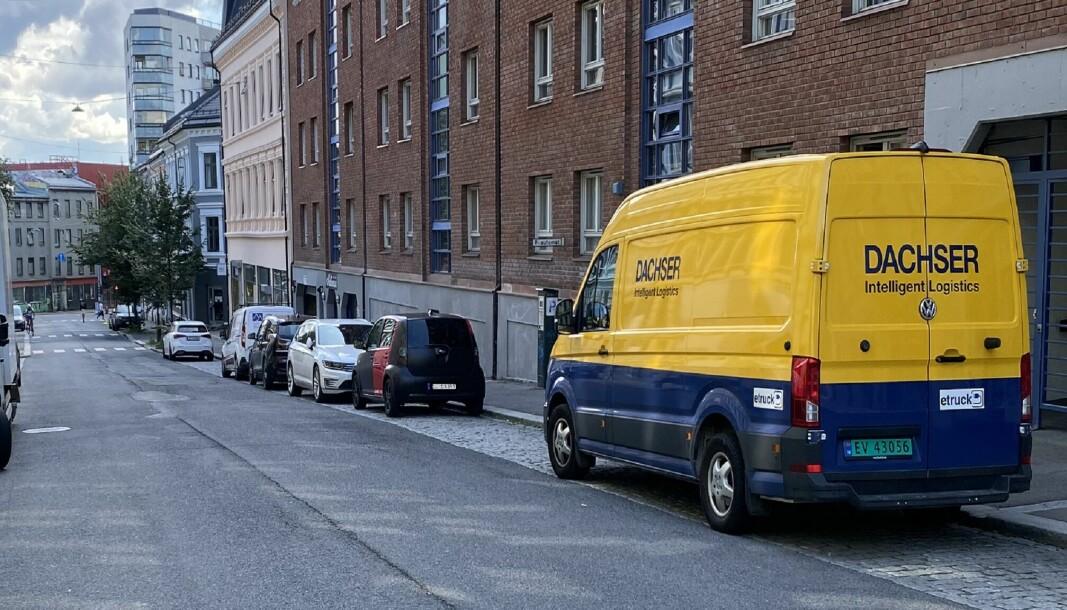 En av de elektriske varebilene som kjører for Dachser i Oslo.